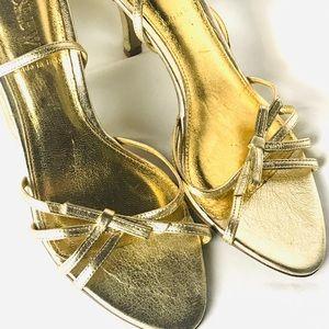 J CREW gold metallic sandal ankle strap heel 7